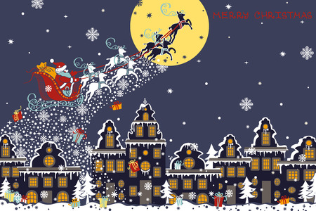 Christmas ,new year greeting card.Santa Claus sleigh with reindeer fly over the city and throws gifts on the moon background. House in Dutch style. Horizontal  Design template,invitation card