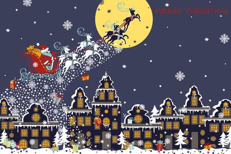 reno: Navidad, a�o nuevo saludo card.Santa Claus en trineo con renos vuelan sobre la ciudad y lanza los regalos en el fondo de la luna. Casa en estilo holand�s. Plantilla de dise�o horizontal, tarjeta de invitaci�n