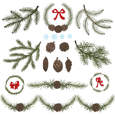 spruce tree: Spruce tree green branches,pine cones,red bow.Christmas fir isolated decor elements.Wreath,garland for invitations cards.New year holiday vector,nature wood illustration,Winter template