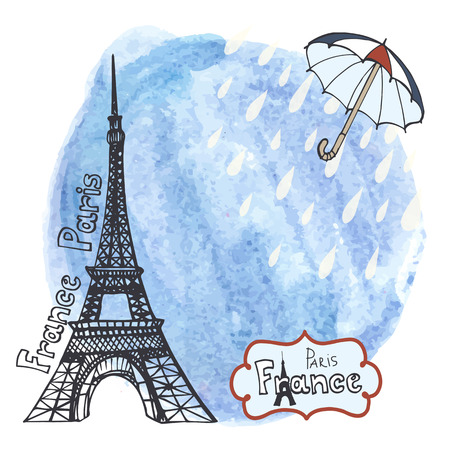 Rain in Paris.Eiffel tower,watercolor blue sky splash wth rain drops and umbrella,Spring or autumn.Hand drawn doodle sketchy,painting art background.French vintage Vector illustration,poster Illustration