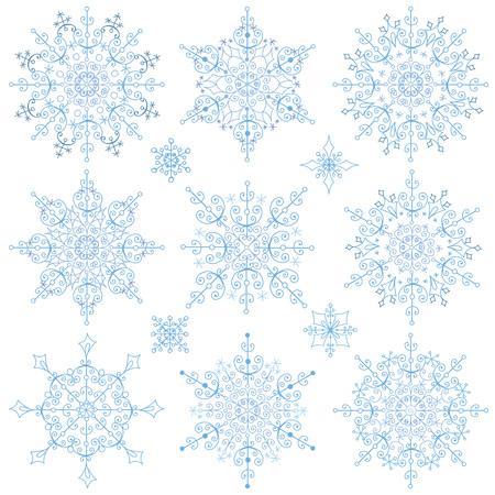 escarapelas: Gran conjunto del copo de nieve de la Navidad, la silueta icono, temporada de invierno elements.New vacaciones año decor.Round forma, encaje adornado, cristal Vector.Vintage garabatos, formas aisladas ornamentados, rosetas.