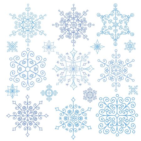 rosettes: Christmas Snowflake big set,Silhouette icon,Winter season elements.New year holiday decor.Round shape,ornate lace, crystal Vector.Vintage Doodles,ornate isolated shapes,rosettes.