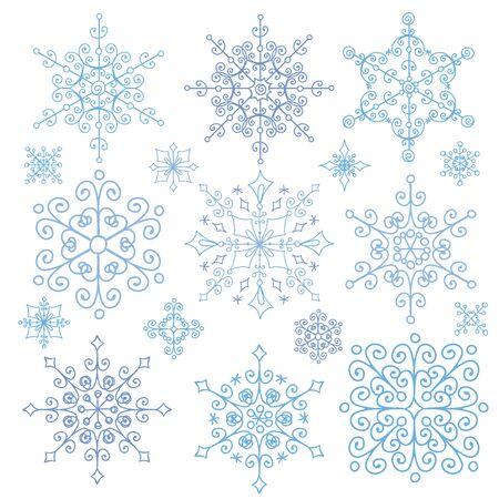 escarapelas: Gran conjunto del copo de nieve de la Navidad, la silueta icono, temporada de invierno elements.New vacaciones a�o decor.Round forma, encaje adornado, cristal Vector.Vintage garabatos, formas aisladas ornamentados, rosetas.