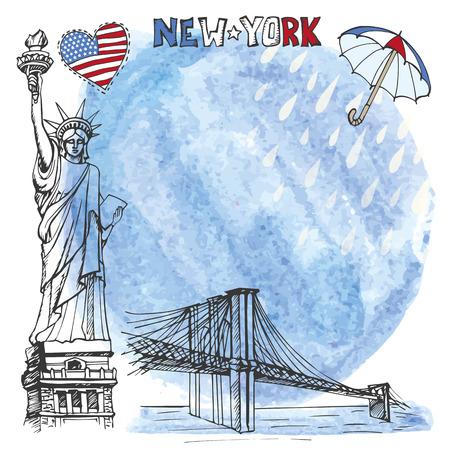 brooklyn bridge: New York.American symbols Statue of Liberty,Brooklyn Bridge in hand drawn sketch.Watercolor splash,rein,umbrella.Vector landmark,retro Illustration,background,design template.