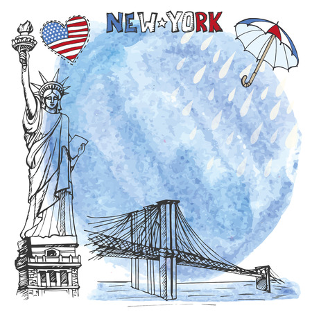 brooklyn: New York.American symbols Statue of Liberty,Brooklyn Bridge in hand drawn sketch.Watercolor splash,rein,umbrella.Vector landmark,retro Illustration,background,design template.