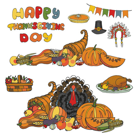 cornucopia: Thanksgiving day doodle set.Autumn harvest decor elements,cornucopia,Turkey,group.Watercolor texture splash background and title.Hand drawing holiday symbols. Colorful vintage vector illustration. Illustration
