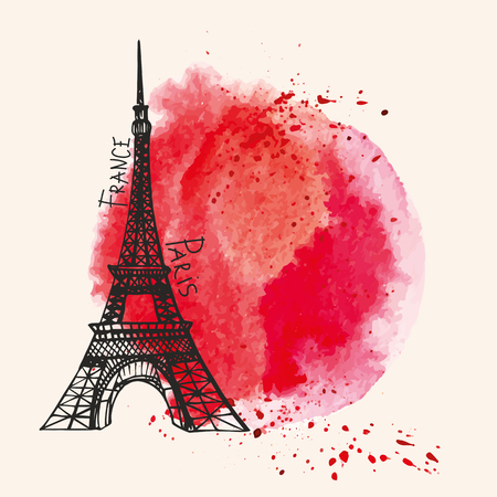 Paris  Card.Eiffel tower,watercolor red,bloody splashes,spot,drops.Hand drawn doodle sketchy,painting textire.Room for text.Vector background,artistic design template