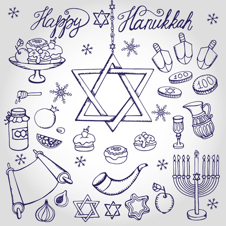 jewish star: Hanukkah symbols set.Doodle hand drawing Jewish Holiday icons,decoration elements set.Swet,menorah,star of David.Israel festival vector objects.Retro  linear Illustration.Religious new year. Illustration