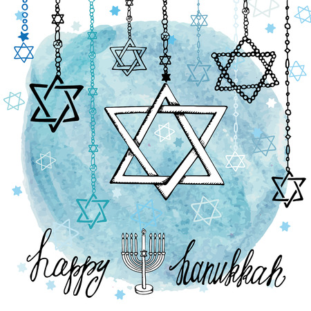 menora: Happy Hanukkah Greeting card.Star of  David in Doodle style.Menora,watercolor blue circle splash,text.Hand drawig jewish decor.Vector background.Square Illustration