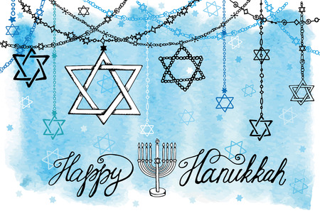 Happy Hanukkah Greeting card.Star of  David in Doodle style.Menora,watercolor blue splash,text.Hand drawig jewish decor,holiday garland.Vector background.HorizontalIllustration