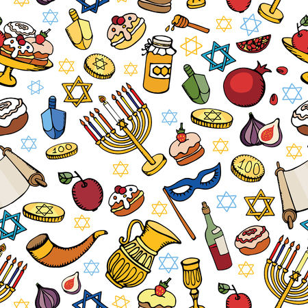 jewish star: Hanukkah symbols seamless pattern.Doodle hand drawing Jewish Holiday objects background.Watercolor blue splash.Sweets,menorah,star of David.Israel festival vector.Retro Illustration.Religious new year.