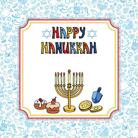 chanukah: Hanukkah symbols greeting card.Doodle hand drawing Jewish Holiday pattern,objects background.Sweets,menorah,star of David.Israel festival symbol, vector.Retro Illustration.Religious new year. Illustration