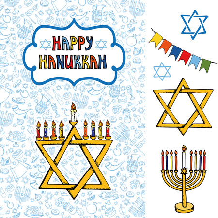 gelt: Hanukkah symbols greeting card.Doodle hand drawing Jewish Holiday pattern,objects background.Sweets,menorah,star of David.Israel festival symbol, vector.Retro Illustration.Religious new year. Illustration