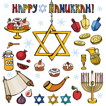 gelt: Hanukkah symbols set.Doodle hand drawing Jewish Holiday icons,decoration elements set.Swet,menorah,star of David.Israel festival vector objects.Retro colored Illustration.Religious new year.