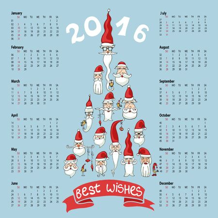 fur tree: Calendar 2016.Happy New year.Santa Claus faces in fur tree shape.Celebration background with wishes.Christmas doodles.Humorous Vector illustration.Hand drawing style