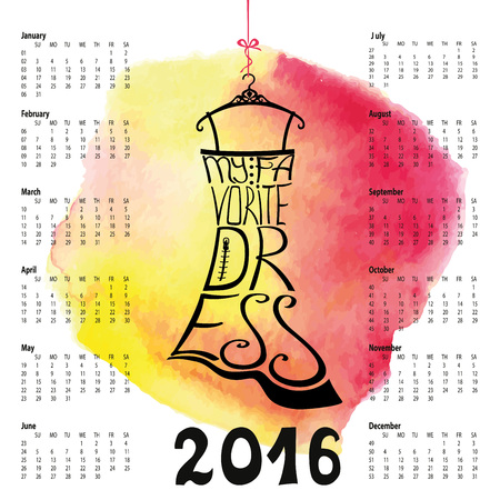 little black dress: Calendar 2016 year.Typography Dress Design,watercolor splash.Lettering in Silhouette of  little black dress,quotes  My favorite dress. Swirling curves font.Pink background.Fashion Vector illustration. Illustration