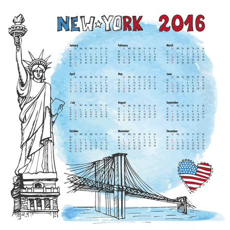 bridge: Calendar 2016 New year.New York.American symbols Statue of Liberty,Brooklyn Bridge, flag in doodle hand drawn sketch.Watrcolor splash.Vector landmark,retro Illustration,background.Week starts from sunday Illustration