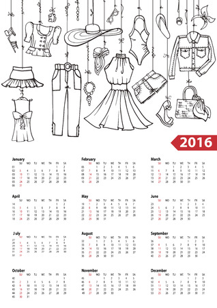 fashion clothing: Fashion illustration.Calendar 2016 new year.Vector hand drawn  fashionable women  clothes and accessories hanging on rope.Background, design template.Summer vacation wear Illustration