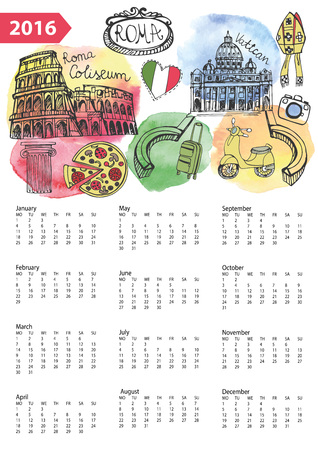 roma: Calendar 2016 New year.Italy,Roma Famous landmarks and symbols.Watercolor splash ,doodle  sketchy.Coliseum,Vatican,pizza,bike.Holiday Vector background,European mesh.Vertical Illustration