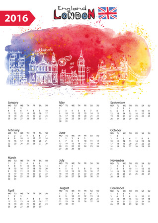 abstract london: Calendar 2016 New year.London Famous landmarks panorama ,skyline.Watercolor splash ,doodle  sketchy.Big Ben, tower bridge,england,british symbols .Holiday Vector background,European mesh.Vertical Illustration