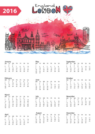 new england: Calendar 2016 New year.London Famous landmarks panorama ,skyline.Watercolor splash ,doodle  sketchy.Big Ben, tower bridge,england,british symbols .Holiday Vector background,European mesh.Vertical Illustration