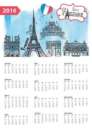 coeur: Calendar 2016 New year.Paris Famous landmarks panorama ,skyline.Watercolor splash ,doodle  sketchy.Notre Dame,Eiffel tower,Sacre Coeur,Grand Opera.Holiday Vector background,European mesh.Vertical