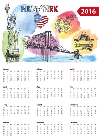 brooklyn: Calendar 2016 New year.New York.American symbols Statue of Liberty,Brooklyn Bridge, flag,taxi.Doodle hand drawn sketch.Watrcolor splash.Vector landmark,retro Illustration,background