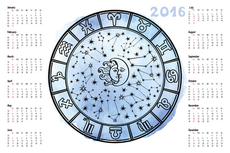 spalsh: Circle with Zodiac sign.Horoscope circle with Zodiac signs.Constellation,stars ,sun and moon,astrology sign.Cyan Watercolor spalsh,hand painting  sky.White background.Artistic Vector  Illustration.