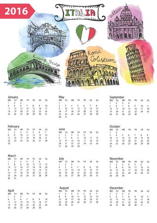 italian tradition: Calendar 2016 New year.Italy Famous landmarks panorama ,skyline.Watercolor splash ,doodle  sketchy.Coliseum,Vatican,bridges of Venice,tower of Pisa.Holiday Vector background,European mesh.Vertical