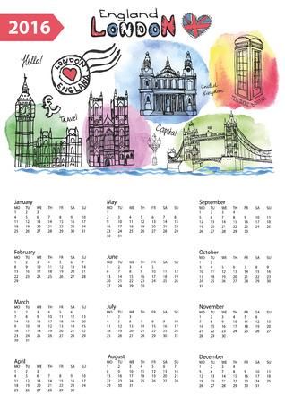 new england: Calendar 2016 New year.London Famous landmarks panorama ,skyline.Watercolor splash ,doodle  sketchy.Big Ben, tower bridge,england british symbols .Holiday Vector background,European mesh.Vertical Illustration