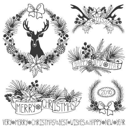winter flower: Merry Christmas and new year decoation set.Reindeer,Spruce fir tree branches,poinsettia,pine cones,red berries,holly,ribbons with lettering,holiday composition,wreath.Vector Illustration