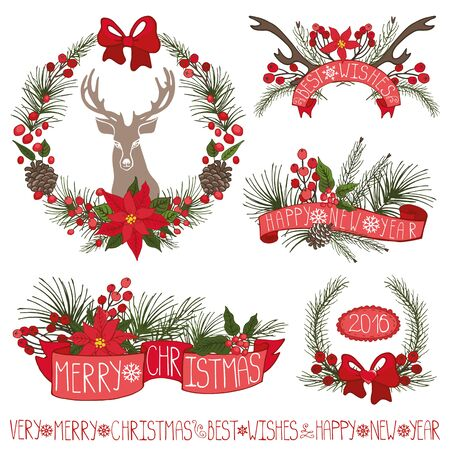 stag party: Merry Christmas and new year decoationr set.Reindeer,Spruce fir tree branches,puansetiya,pine cones,red berries,holly,ribbons with lettering in holiday composition,wreath.Vector Illustration