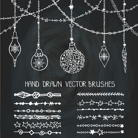 Christmas Hand drawn garland brushes with ornate balls.New year doodle pattern textures.Decoration vector set.Winter symbols in line border.Used brushes included.Design template,card.Chalkboard
