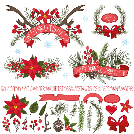 christmas element: Merry Christmas,new year decor set.Spruce fir tree branches,pine cones ,red berries,Poinsettia flower,holly,ribbons with lettering in holiday composition,wreath.Vector Illustration for greeting cards,invitation,calendar Illustration