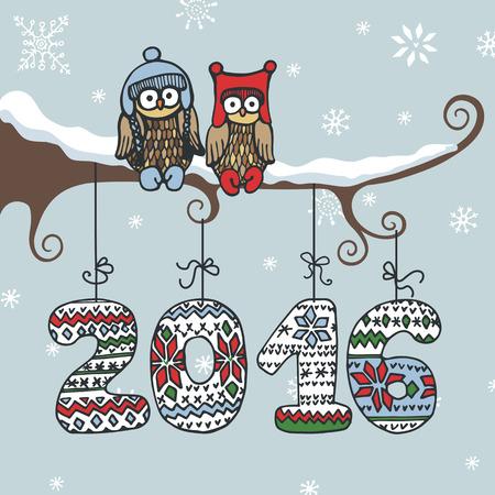 buhos: Navidad, A�o Nuevo doodle del b�ho card.Cartoon saludo pareja en rama. figuras de punto 2016 que cuelgan en la plantilla de dise�o ropes.For, poster.Hand dibujo vectorial de invierno Vectores