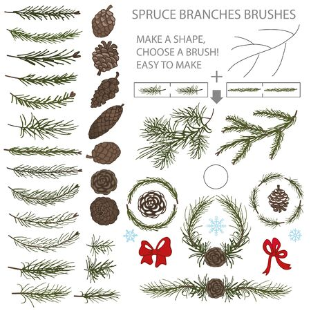 elements of nature: Spruce green branches,pine,cones brushes,wreath,line borders.Christmas tree decor elements for invitations,print and web,card,banner.New year holiday vector,nature illustration,Winter template