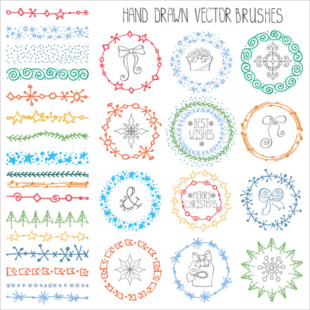 nature vector: Christmas Hand drawn Pattern brushes.New year doodle textures,snowflakes, stars,artistic ornament.Decoration vector set.Circle frame wreath with winter symbols.Used  brushes included