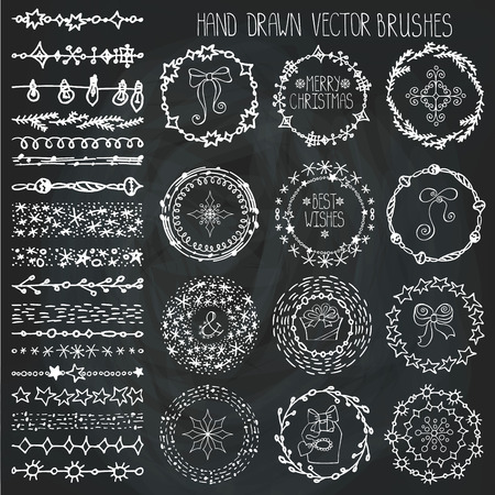 Christmas Hand drawn Pattern brushes.New year doodle textures,snowflakes, stars,artistic ornament.Decoration vector set.Circle frame wreath with winter symbols.Used  brushes included.Chalkboard Stock Illustratie