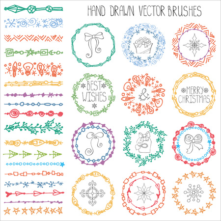 circle background: Christmas Hand drawn Pattern brushes.New year doodle textures,snowflakes, stars,artistic ornament.Decoration vector set.Holiday Circle frame wreath with winter symbols.Used  brushes included