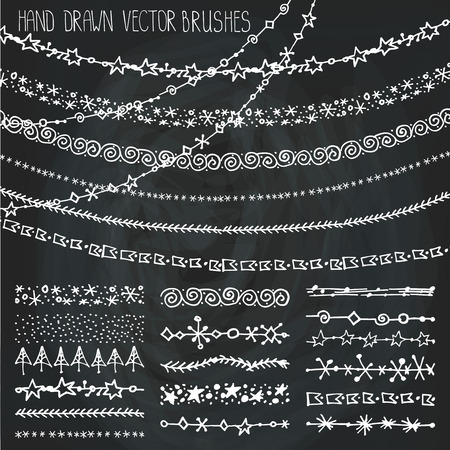 Christmas Hand drawn garland brushes.New year doodle pattern textures,snowflakes, stars ornament.Decoration vector set.Winter symbols.Used  brushes included.Chalkboard background