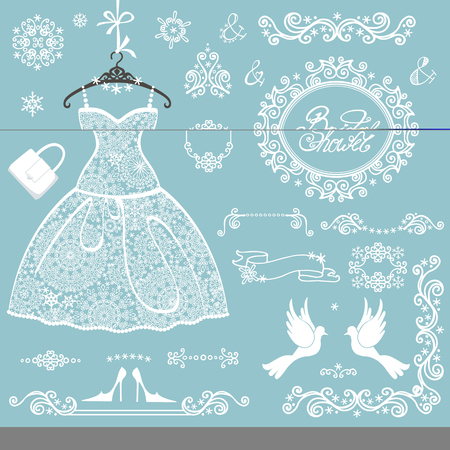bridal shower decor elements setwinter invitation cards templateopenwork snowflakes ornamentwedding