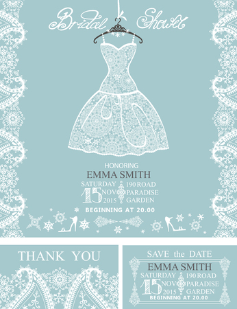 short skirt: Bridal shower invitation set.Bridal white dress and accessories with paisley lace,swirling frame,snowflakes.Winter design.Wedding invitation,save the date card, thank you card.Vector illustration