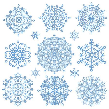 copo de nieve: Copo de nieve conjunto grande, la silueta icono, Invierno elements.Christmas, fiesta del A�o Nuevo decor.Round forma, Vector.Doodles cristal.
