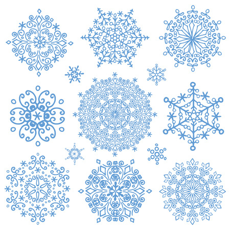 snowflake set: Snowflake big set,Silhouette icon,Winter elements.Christmas,new year holiday decor.Round shape, crystal Vector.Doodles.