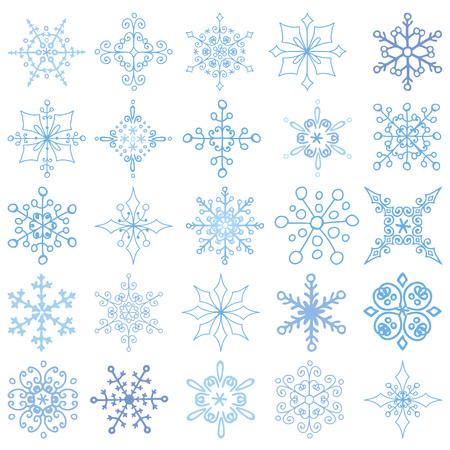escarapelas: Los copos de nieve y, Silueta icono, Invierno elements.Christmas, nueva forma de vacaciones año decor.Round, de encaje adornado, cristal Vector.Vintage garabatos, formas aisladas ornamentados, rosetas.