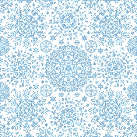 Snowflakes  lace seamless pattern.Christmas,New year winter symmetry ornament,wrap,wallpaper.Cyan  Vector.Christmas,winter illustration.Holiday background Illustration