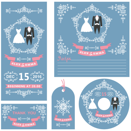 frock coat: Wedding  invitations card set.Winter  decor set with dress,frock coat,Swirling borders,wreath frame ribbon,snowflakes.Design template.Vintage Vector,flat fashion
