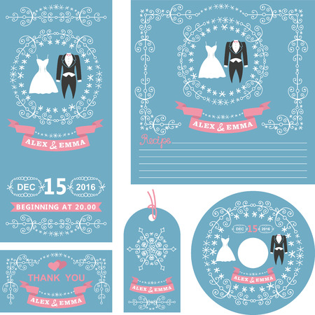 Wedding  invitations card set.Winter  decor set with dress,frock coat,Swirling borders,wreath frame ribbon,snowflakes.Design template.Vintage Vector,flat fashion