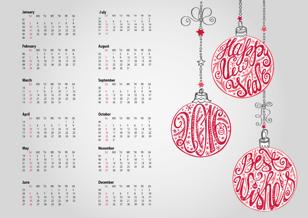 swirl patterns: 2016 new year Calendar with Christmas ball ,garlands,wishes.Ornate swirling decor.Holiday Vector background.Handwriting lettering in the ball shapes.Week starts from sunday,american.Horizontal