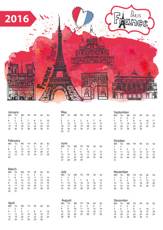 Calendar 2016 New year.Paris Famous landmarks panorama ,skyline.Watercolor splash ,doodle  sketchy.Notre Dame,Eiffel tower,Sacre Coeur,Grand Opera.Holiday Vector background,European mesh.Vertical